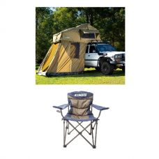 Adventure Kings Roof Top Tent + 4-man Annex + Adventure Kings Throne Camping Chair