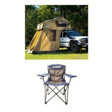 Adventure Kings Roof Top Tent + 4-man Annex + Adventure Kings Throne Camping Chair