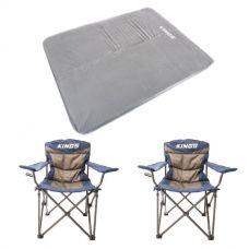 Adventure Kings Self Inflating 100mm Foam Mattress - Queen + 2x Adventure Kings Throne Camping Chair