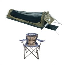 Adventure Kings Single Swag - Kwiky + Adventure Kings Throne Camping Chair