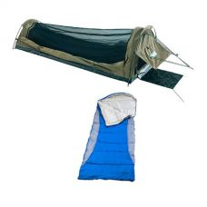 Adventure Kings Single Swag Kwiky + Left Hooded Sleeping Bag