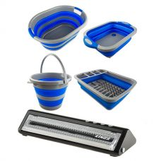 Adventure Kings Collapsible Sink + Collapsible 10L Bucket + Collapsible Laundry Basket + Collapsible Dish Rack + Vacuum Sealer