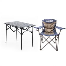 Adventure Kings Aluminium Roll-Up Camping Table + Adventure Kings Throne Camping Chair