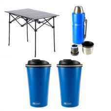 Adventure Kings Aluminium Roll Up Camping Table + 1.2L Vacuum Flask + 2x 410ml Travel Mug