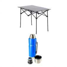 Aluminium Roll Up Camping Table + 1.2L Vacuum Flask