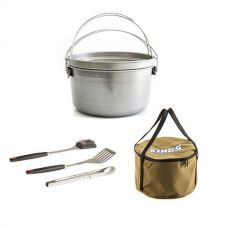 Large Aussie Camp Oven + Adventure Kings Camp Oven Canvas Bag + BBQ Tool Set