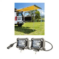 "Adventure Kings Rear Awning 1.4 x 2m + 4"" LED Light Bar"