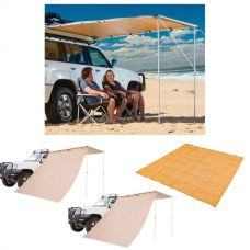 Adventure Kings Awning 2.5x2.5m + 2x Adventure Kings Awning Side Wall + Mesh Flooring 3m x 3m