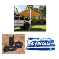 Adventure Kings 2.5x2.5m Awning + Sunshade + Sand bag (pair)