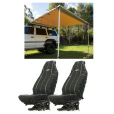 Adventure Kings Awning 2.5x2.5m + Adventure Kings Heavy Duty Seat Covers (Pair)