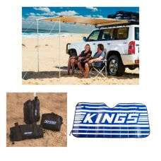 Adventure Kings 2x2.5m Awning + Sunshade + Sand Bags (pair)
