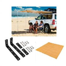 Adventure Kings Awning 2x2.5m + Awning Mounting Brackets (Pair) + Mesh Flooring 3x3m