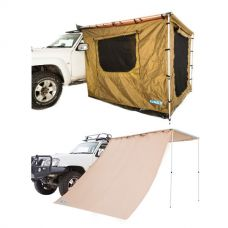 Adventure Kings 2 x 3m Awning Tent + Awning Side Wall