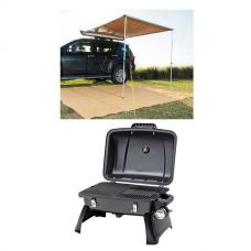 2 x 2.5m 2 in 1 Awning + Strip Light + Gasmate Voyager Portable Gas BBQ