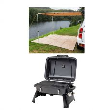 2 x 3m 2 in 1 Awning + Strip Light + Gasmate Voyager Portable BBQ