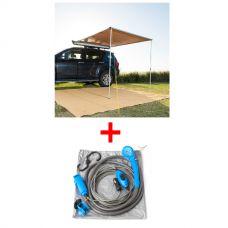 2 x 2.5m 2 in 1 Awning + Strip Light + Adventure Kings 12v Portable Shower Kit
