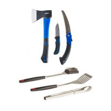 Kings Three Piece Axe, Folding Saw and Knife Kit + BBQ Tool Set