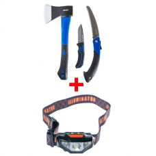 Kings Three Piece Axe, Folding Saw and Knife Kit + Illuminator LED Head Torch