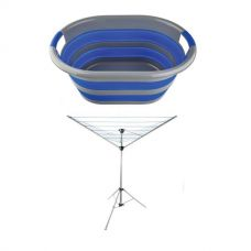 Adventure Kings Camping Clothesline + Collapsible Laundry Basket