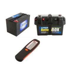 Adventure Kings AGM Deep Cycle Battery 115AH + Battery Box + Illuminator 24 LED Work Light