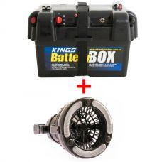 Adventure Kings Battery Box + Adventure Kings 2in1 LED Light & Fan