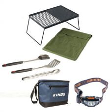 Adventure Kings Camp Fire BBQ Plate + BBQ Tool Set + Cooler Bag + Head Torch