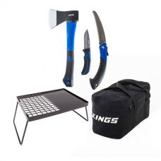 Kings Essential BBQ Plate + Three Piece Axe, Folding Saw and Knife Kit + 40L Duffle Bag