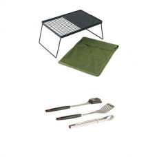 Adventure Kings Camp Fire BBQ Plate + BBQ Tool Set