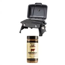 Gasmate Voyager Portable BBQ + Flaming Coals Bovine Espresso Brisket & Steak Rub