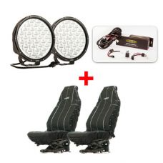 "Essential 9"" Driving Light Pack + Heavy Duty Seat Covers"