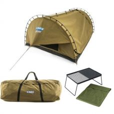 Adventure Kings 'Big Daddy' Deluxe Double Swag + Swag Canvas Bag + Camp Fire BBQ Plate