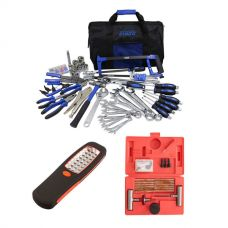 Adventure Kings Tool Kit - Ultimate Bush Mechanic + Illuminator 24 LED Work Light + Tyre Repair Kit
