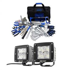 "Adventure Kings Tool Kit - Ultimate Bush Mechanic + 3"" LED Work Light - Pair"