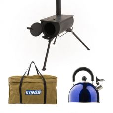 Adventure Kings Camp Oven/Stove + BBQ Canvas Bag + Camping Kettle