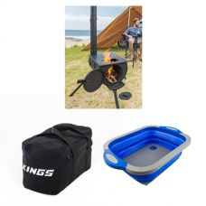 Adventure Kings Camp Oven/Stove + 40L Duffle Bag + Collapsible Sink