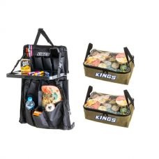 Adventure Kings Premium Car Seat Organiser with Folding Table + 2x Clear Top Canvas Bag