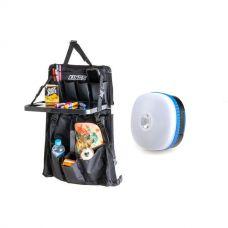 Adventure Kings Premium Car Seat Organiser with Folding Table + Mini Lantern