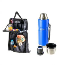 Adventure Kings Premium Car Seat Organiser with Folding Table + Kings 1.2L Vacuum Flask