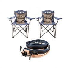 2x Adventure Kings Throne Camping Chair + LED Strip Light