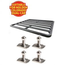 Adventure Kings Aluminium Platform Roof Rack Suitable for Holden Colorado Dual-Cab 2012+ + Kings 28mm T Bolt (4 Pack)
