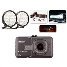 "Complete 9"" Driving Lights, 22"" Light Bar Pack + Adventure Kings Dash Camera"