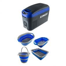 15L Centre Console Fridge/Freezer + Collapsible Sink + Collapsible 10L Bucket + Collapsible Laundry Basket + Collapsible Dish Rack