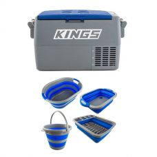 45L Camping Fridge + Sink + Collapsible 10L Bucket + Collapsible Laundry Basket + Collapsible Dish Rack