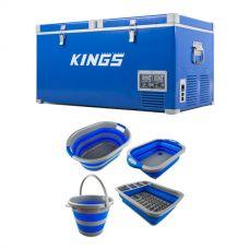 90L Camping Fridge Freezer + Collapsible Sink + Collapsible 10L Bucket + Collapsible Laundry Basket + Collapsible Dish Rack