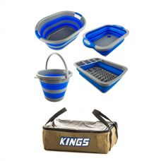 Adventure Kings Collapsible Sink + Collapsible 10L Bucket + Collapsible Laundry Basket + Collapsible Dish Rack + Clear Top Canvas Bag