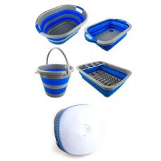 Adventure Kings Collapsible Sink + Collapsible 10L Bucket + Collapsible Laundry Basket + Collapsible Dish Rack + Mini Lantern
