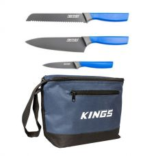 Adventure Kings 4-Piece Camping Chef's Knives Kit + Cooler Bag
