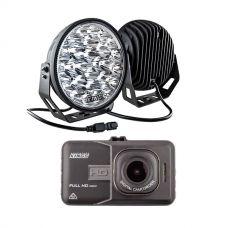 "Kings 9"" LED Driving Lights (Pair) + High-Def Dash Camera"