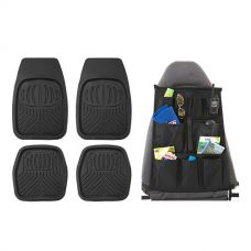 Adventure Kings Deep Dish Floor Mats Set of 4 + Car Seat Organisers