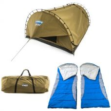 Adventure Kings 'Big Daddy' Deluxe Double Swag + 2x Hooded Sleeping Bag + Swag Canvas Bag